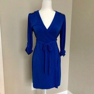 Calvin Klein Blue Sz 2 Wrap Dress w Gold Accent